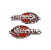 Harley Davidson gas tank set of white emblems with red lettering