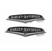 Harley Davidson gas tank curved surfaces and have Chrome lettering on a black background