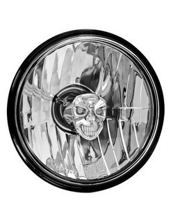 headlight diamond cut skull - smooth clear lens
