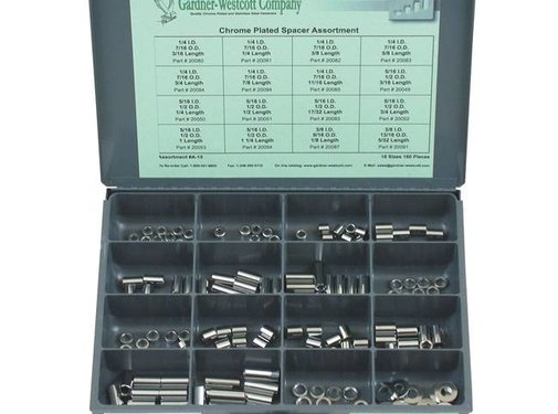 GARDNER-WESTCOTT fastener assortment Chrome plated spacers