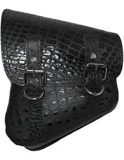 saddle bag black alligator plain