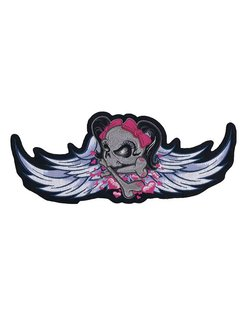 biker patch - winged girl skull