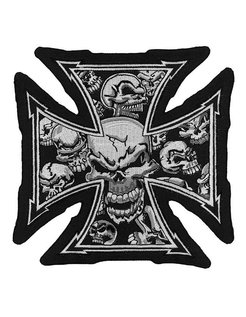 biker patch - malteze cross - skull