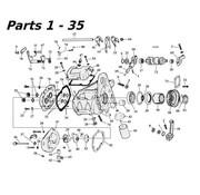 MCS transmission 5 speed parts 80-06 Shovelhead/Evo & Twincam Big Twin nr 1-35