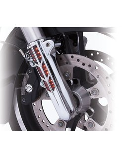 Lower frontsuspension leg cover Chrome/Black 14-up FLH/T - lighted