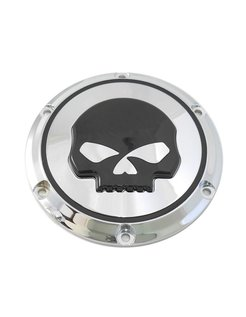 Black 6 hole skull derby cover - Sportster XL 2004-UP
