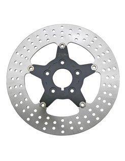 Floating disc brake rotor with black center, 5-star Front - Fits all single & dual disc 2000-2014 Sportster, 2000-2007 Touring, 2000-2005 Dyna & 2000-up Softail.