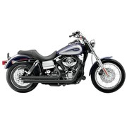 Cobra Exhaust system Speedster Slash Down with Powerport, black heat shields; For all 12-16 Dyna models (except FLD)