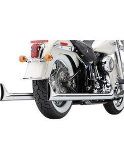 Exhaust system true Duals with fishtails Chrome; For 12-16 FLS/ FLST/ FXS models