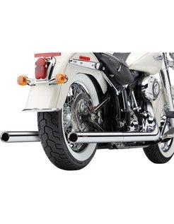 Exhaust system true Duals with fishtails Chrome; 97-06 FLST/ FXST