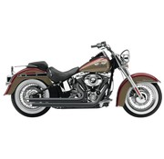 Cobra Exhaust system Slash Down with powerport black heat shields; For all 12-16 FXST/ FLST models