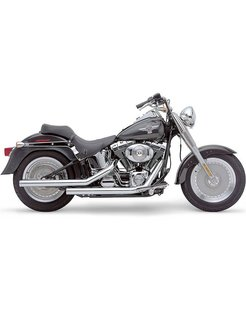 Exhaust system Dragster staggered chrome; For Softail FLST/FXST 86-06