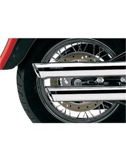 3 inch slip-on mufflers chrome; 08-16 FXDF