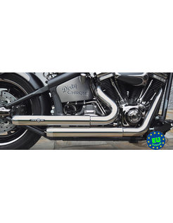 EURO 3 approved HOT SHOT exhaust model Top Chopp Staggered, fits 1984-2016 Softail, except FXCW, FXCWC, and FXSB