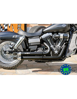 EURO 3 approved HOT SHOT exhaust model Top Chopp Sport, Fits 2008-up Fat Bob, Street Bob and Dyna Wide Glide