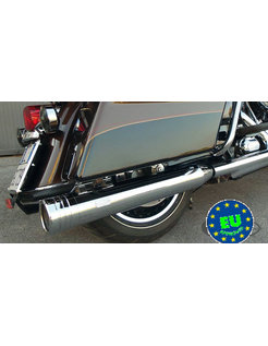"""Harley exhaust Edition 120 Slip-Ons (4.724"""" = 120mm diameter) with Stripe end caps, Chrome, Fits 1995  -  2016  Harley Touring FLH FLT"""