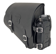 Texas leather bags Black leather bag with matte buckles mounting hardware and oil can holder