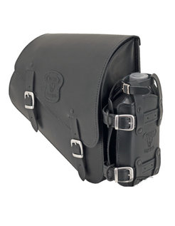 bags Black leather bag with matte buckles mounting hardware and oil can holder