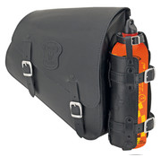 Texas leather bags Black leather bag with matte buckles mounting hardware Fuel Can and Fuel Can holder