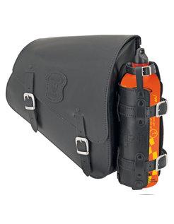Schwarze Ledertasche mit matten Schnallen, Montage-Hardware, kann Kraftstoff und Kraftstoff kann Halter
