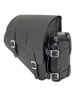 Bolso de cuero negro con hebillas mate, accesorios de montaje