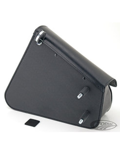 bags Black leather bag with matte buckles mounting hardware