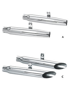 exhaust slip fit replacement tappered or Baloney slice mufflers- Fits:> Sportster XL 2004-2013 (sold in pairs)