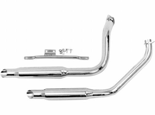 Paughco exhaust Chrome muffler pipes for Shovelhead-powered FL with electric start - Fits:> 70-84 FLH
