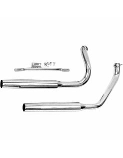 Harley exhaust Chrome muffler pipes for Shovelhead-powered FL   with electric start - Fits:> 70-84 FLH