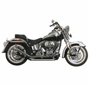 Paughco exhaust 1 3/4 inch Side by Side Upswept Fishtail black or Chrome : Fits:> >00-017 Softail