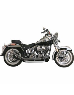 Harley exhaust 1 3/4 inch Side by Side Upswept Fishtail black or chrome : Fits: >00-017 Harley Softail