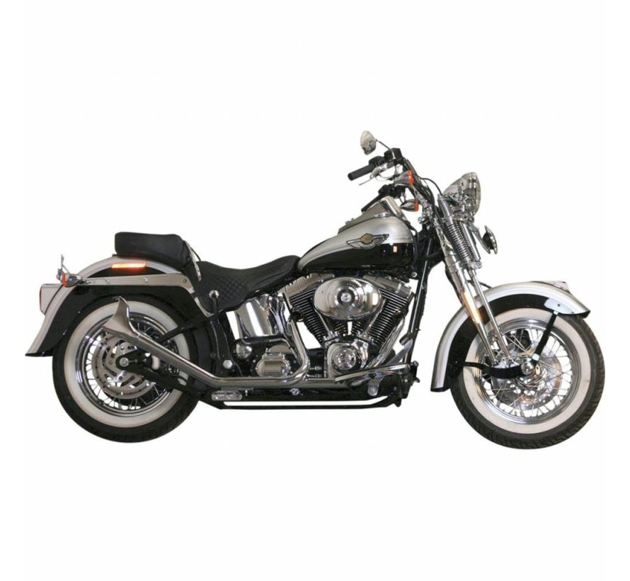 1 3 4 zoll side by side upswept fishtail schwarz oder chrom passend f r 00 017 softail taco. Black Bedroom Furniture Sets. Home Design Ideas