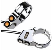 Joker Machine turn signal LED Rat eye LED fork mount black or Chrome 41mm fork diameter