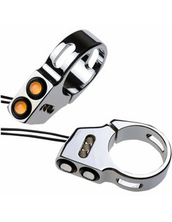 Rat eye LED fork mount turn signals black or chrome 41mm fork diameter