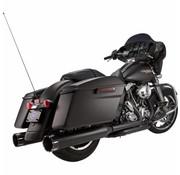"""S&S Power Tune Muffler 4.5 """"Slip-On MK45 Schwarz Kontrast Tracer End Cap Jet-HOT® Black Body Finish - Passend für:> 95-16 FLHT / FLTR / FLHR / FLHX MODELS"""