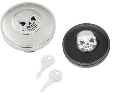 gas tank gas cap screw in locking skull - Black or Chrome