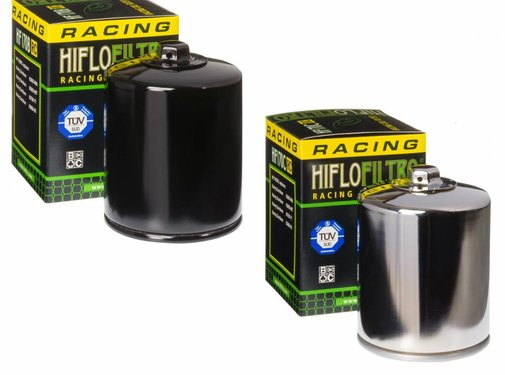 Hiflo-Filtro Oil filter High flow with top nut - Black or Chrome Fits:> 84-90 FLT 84-94 FXR 84-99 Softail 86-17 XL 09-12 XR 1200