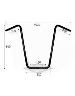 "1 ""Manillar Ape Hanger alto 23 pulgadas pulgadas (60 cm), negro o cromo"