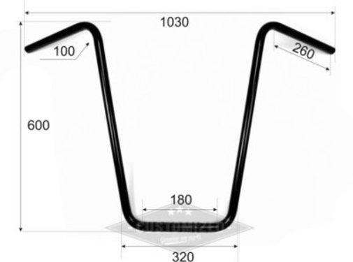 "Vandema products 1"" Handlebars Ape Hanger  high 23 inch inch (60cm) , black or chrome"