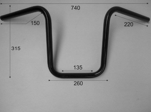 "Vandema products 1 ""Lenker Narrow Ape Hanger niedrig 12 Zoll (30cm), schwarz oder chrom"