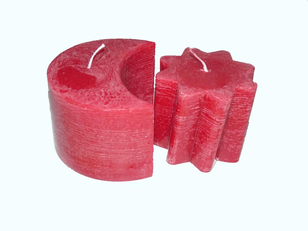 De Kleur Rood : Zon maan kaars in de kleur rood ambachtelijke kaarsen