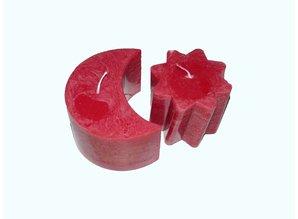 Zon & Maan kaars in de kleur Rood - Ambachtelijke kaarsen