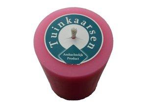 Handmade Buitenkaars in felle kleur roze Ø 7x10cm