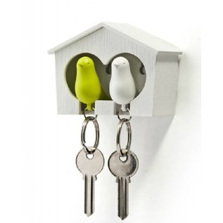 Qualy Duo sparrow keyring wit/groen