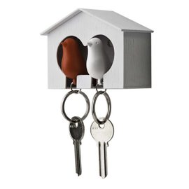 Qualy Duo sparrow keyring wit/rood
