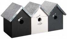 3 moderne Vogelhuisjes op een rij, een echt rijtjeshuis!