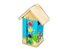 Houten Vogelhuisjes om zelf te schilderen (incl. 4 kleuren verf en penseeltje)
