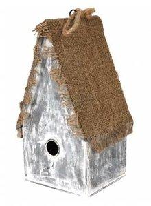 """Goedkope Vogelhuisjes kopen? Vogelhuisje """"Heksenhuisje"""" (hoog model, gemaakt van zink en jute)"""