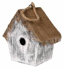 """Goedkope Vogelhuisjes kopen? Vogelhuisje """"Heksenhuisje"""" (laag model, gemaakt van jute en zink)"""
