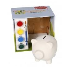Beschilderbaar Spaarvarken in geschenkverpakking (incl. 4 verschillende kleuren verf en penseeltje)